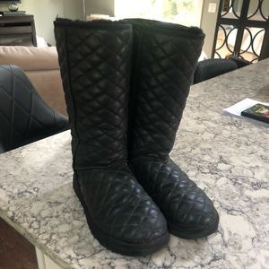 Classic Tall diamond quilted leather UGG boots